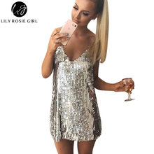 Deep V Neck Autumn Silver Sequined Backless Sexy Dress Women Off Shoulder Mini Dress Christmas Party Club Strap Dresses Vestidos