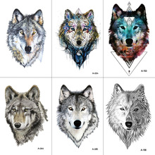 WYUEN Wolf Temporary Tattoo Stickers Waterproof Women Fake Hand Animal Tattoos Adult Men Body Art 9.8X6cm A-085(China)