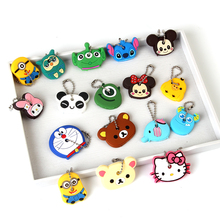 Anime Silicone Key Cap Cat Minion Key Chain Women Bag Charm Key Holder Stitch Key Ring Owl Keychain Mickey Hello Kitty Key Cover