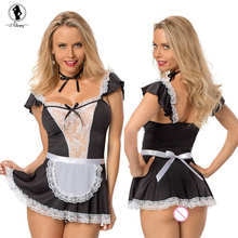 ALINRY 2017 sexy lingerie black lace sexy chemise expose breast Maid cosplay erotic underwear perspective sexy babydoll costumes