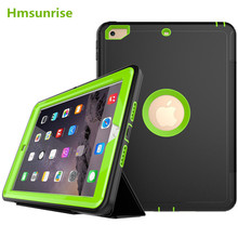 360 full protection Case For apple ipad 9.7 2017 Kids Safe Shockproof Heavy Duty TPU Hard Cover kickstand design for ipad A1822