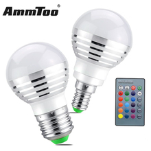 5W RGB E27 E14 Led Bulb 85-265V Lampada Led Lamp 220V 110V 120V Led Spotlight + IR Remote Controller For Party Holiday Dance