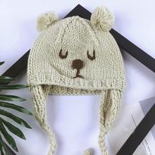Baby Toddler Kid Elasticity Bears Pattern Beanie Handcraft Knitted Warm Hat Cap Drop Shipping # Z30