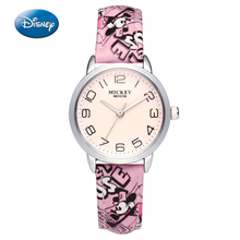Disney Children Watches Fashion Cartoon Leather Strap Wristwatches Quartz Watch Women Men Watches Mickey Mouse Top Brand Luxury(China)