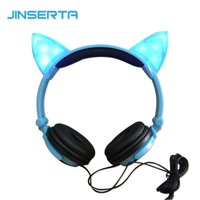 Cat ears headphone folded headband Parade earphone with LED cosplay For PC Laptop Mobile Phone Christmas gift<br><br>Aliexpress