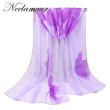 women 2017  chiffon  silk women's scarves lotus flowers spring autumn summer sun modern hijab thin style  wholesale