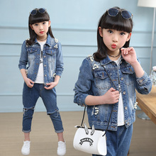 2017 new style girl's personality cowboy pizza various coat children's clothing spring and autumn new denim jacket
