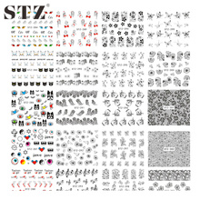 STZ 1 Sheets Optional Water Transfer Art Stickers For Nail Decal Flowers Cartoon Cat Lace Gold Feather Design DIY Set STZ283-313
