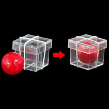 Solid ball penetrates transparent cube trick
