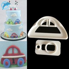 LINSBAYWU 2pcs Car Plastic Fondant Cutter Cake Mold Fondant Cupcake Decorating Tools