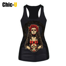 2016 Women Princess Girls Punk Tank Tops Summer Style Harajuku Sexy Slim Camisole 3D Printing Round Neck Black Casual Vests(China)