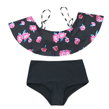 Buy us women print bikini women 2018 brazilian swimwear high waist swimsuit halter sexy swimming bikini set bathing suits swimwear