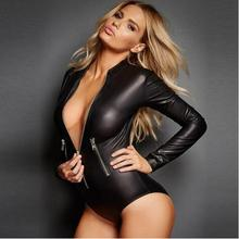 Buy Zipper Latex Wetlook Catsuit Gothic Faux Leather Bodysuit Cat Women Fetish PVC Teddy Lingerie Erotic Clubwear Costume Plus Size