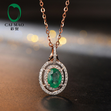 Caimao Jewelry Hot Sales 5x7mm Oval Shape Emerald 14K Rose Gold Diamond Engagement Pendant(China)