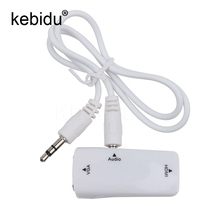 Kebidu HDMI Female To VGA Female Converter Box Adapter With Audio Cable For PC HDTV + 3.5mm AV Audio Cable For PC Black(China)