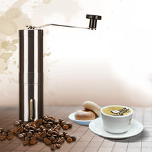 2016 Coffee Bean Grinder Silver Stainless Steel Hand Manual Handmade Coffee Bean Grinder Mill Kitchen Grinding Tool(China)