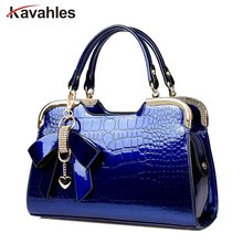 2018 New Fashion Trend Crocodile Leather Patent Ladies' Bust Bag Should Stone Grain Messenger Bag Shoulder Bow Bag PP-1042(China)