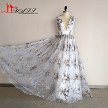 Real Photo Vestido de fiesta 2016 Gold and Lilac Print Embroidery Material Arabian indian saree Evening Prom Dresses