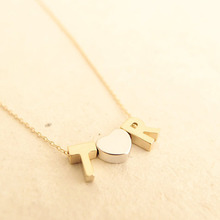 Personalized any double initial name necklace couple pendant charm women present letter Alphabet fashion love heart gift