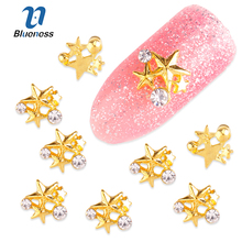 10Pcs/Lot Gold Alloy 3 Pentacle Diy Rhinestones Decorations For Nails Charms 3D Five-pointed Star Nail Art Studs Supplies TN1647