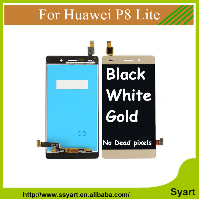 P8 lite 5PCS Gold Lcd screen complete for P8 lite For Huawei Ascend P8 Lite 5.0 inch Display Digitizer Touch DHL<br><br>Aliexpress