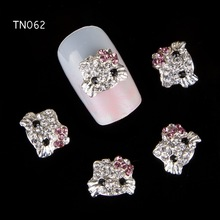 10pc/lot Diamond Glitter Kitty Cat Nail Art Decoration 3D Nail Alloy Charm Jewelry Decorations for Nail Art Studs Nail Tools