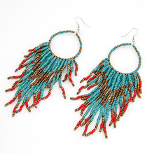 YYW Fashion Fringe Earrings wedding jewellery Glass Seed Beads blue 135x35mm Sold By Pair