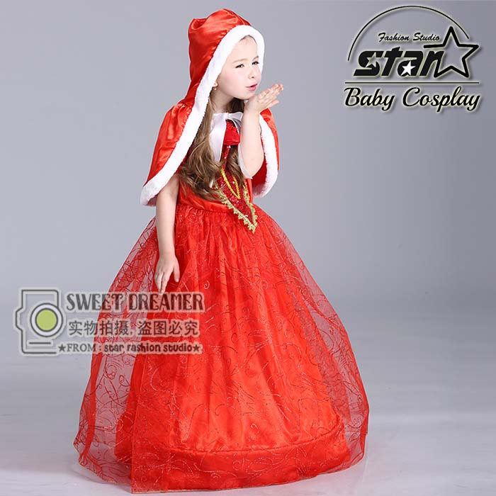 Baby Girl Coustume Outfit Little Red Riding Hood Dress With Hooded Cloak Child Bow Sequined Ball Gown Christmas Costume Gift<br>