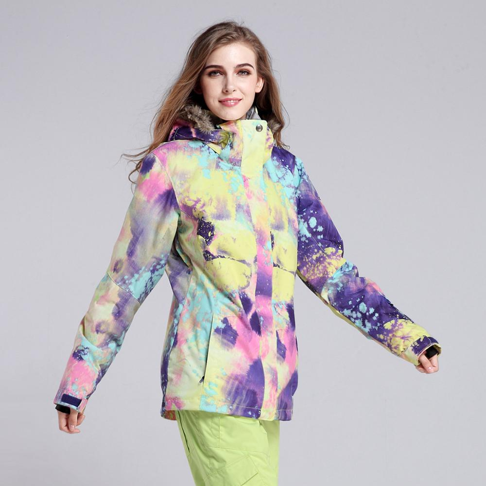 Snow Gsou ski suit female wool collar wind proof super warm warm ski clothes<br><br>Aliexpress