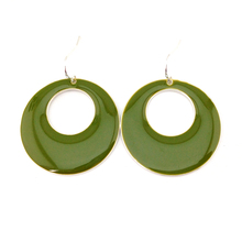 Free shipping New Arrival Green Glaze Enamel Simple Round Drop Earring Gift for New Year 2017(China)