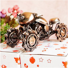 PANFELOU 17*7*9cm Wine red Mechanical cool mecha motorcycle gear armor metal crafts for home decor Model  articles