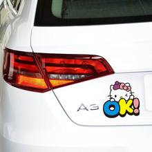 Cartoon KT Cat Girls Car body stickers 4 style car stickers Hello Kitty Car styling Accessories