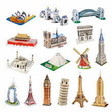 Handmade DIY  3D Puzzle Paper Papercraft Double Decker Bus Eiffel tower Titanic Tower Bridge Empire State Building