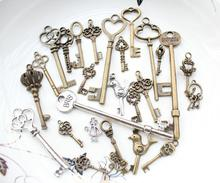 120pcs assorted designs antique silver bronze Key Charm Pendants For Jewelry Making Vintage Bronze Alloy Skeleton Keys 20mm-70mm(China)