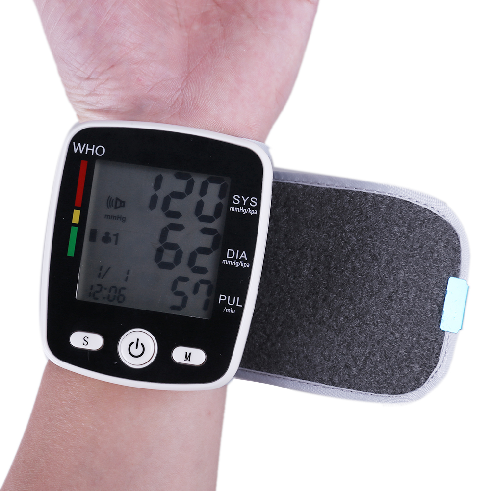 Portable Intelligent Digital Automatic Wrist Blood Pressure Monitor LCD Display Household Health Care Blood Monitors 16
