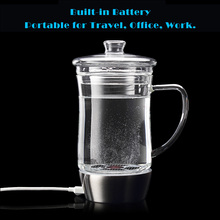 Hydrogen Rich 450ML Water Cup Ionizer Bottle Generator Rechargeable Heat-resistant Office Style Glass Water Pitcher Cup