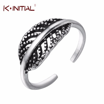 Kinitial 1Pcs 925 Sterling Silver Tree Leaf Rings Cute Feather Ring High Quality Leaves Ring For Women Fashion Jewelry