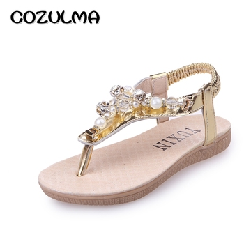 COZULMA Kids Summer Sandals Girls Pearl Rhinestone Sandals Shoes Little Kids Big Kids Shoes Children Summer Flip Flops For Girls