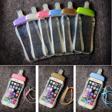 Transparent Cute Cartoon Baby Nipple Milk Bottle Mobile Phone Cases For iPhone 5 5S SE 6 6S 7 Plus TPU Phone Cover With Lanyard