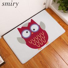 Smiry welcome home hallway entrance door mats cute cartoon funny owl pattern mats dust proof durable bathroom carpets home decor(China)