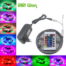 5m 10m 2835 LED Strip No Waterproof RGB led Stripe Light Flexible SMD 3528 DC12V RGB Lighting for IR 24keys Remote Controller(China)