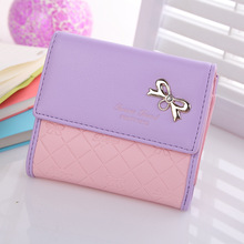 High quality women wallets,PU leather lady's medium wallets,purse bag,day clutch,candy color bowknot sweet design card holder.