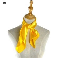 Brand New 50s Vintage Style 60cm*60cm Satin Womens Scarfs Fashionable Solid Yellow Women Scarf Scarves foulard femme SD0004
