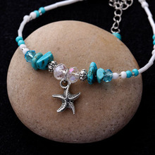 Sea Shell Starfish Charm Anklet For Women Foot Jewelry New Design Natural Stone Beaded Star Pendant Anklet(China)