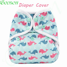 Reusable Waterproof Diaper Cover Double Gussets Cloth Diaper Cover PUL Colorful Double Row Snap Washable Nappy Cover For Baby(China)
