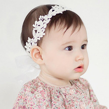 2016 Baby Flower Headband Girl Children Infant Baby White Floral Hair band Accessories Adjustable Headband For Baby Girls(China)
