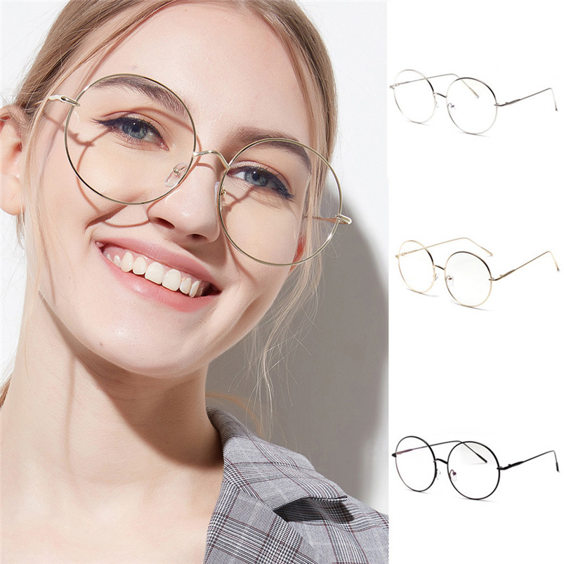 2018 Men Women Classic Metal Frame Mirror Rounded Clear Lens Glasses Metal  Spectacle Myopia Eyeglasses Lunette ... 3f92df3d3a41