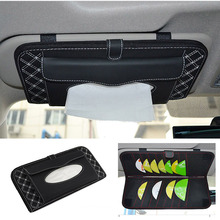 Car Sun Visor Tissue Box Holder 14 Disc Tidy Sleeve CD DVD Card Case Wallet Storage Holder Car Interior Accessories Organizer(China)