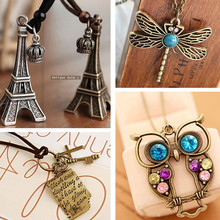 Vintage Necklaces Women Cross Key Love Letters Owl Pendant Necklace Antique Collares Fashion Jewelry Bijoux One Direction(China)