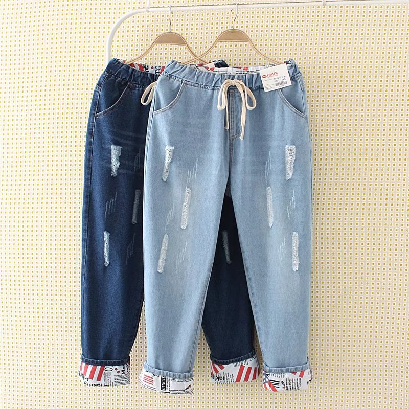 2017 Two Wear Cuffs Jeans For Women Plus Size XL-5XL Summer Style New Hole Flexible Ankle-Length Pants Elastic Waist Jeans